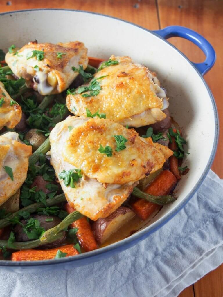 One pot lemon garlic chicken with vegetables