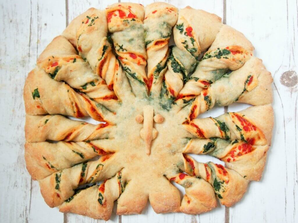 twisted bread with peppers spinach and parmesan caroline s cooking