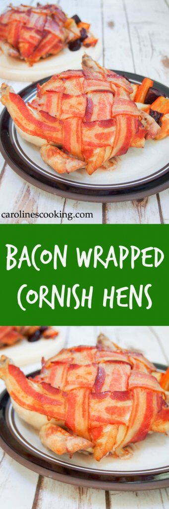 [ad] Bacon wrapped Cornish hens make an impressive-looking main without too much effort. All the tastiness of a larger roast with less cooking time.