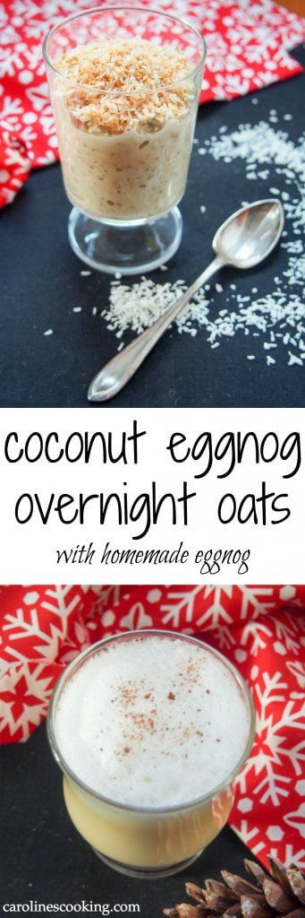 These coconut eggnog overnight oats are a tasty combination of homemade eggnog, oats and toasted coconut. Easy to make with dairy free option. And there's leftover eggnog to drink in the evening! A delicious seasonal breakfast and drink
