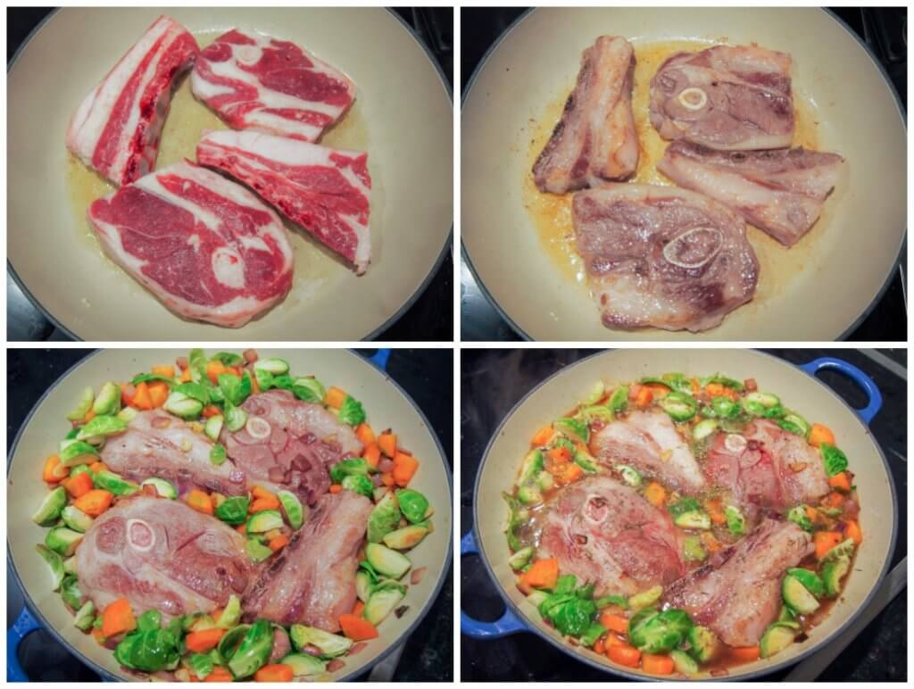 making One pot braised lamb shoulder chops and vegetables