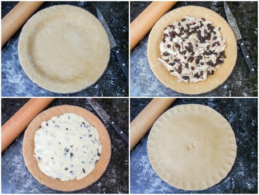 making 'Australian pie' - leftover turkey pie with raisins and bechamel