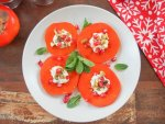 Easy persimmon appetizer with minted mascarpone
