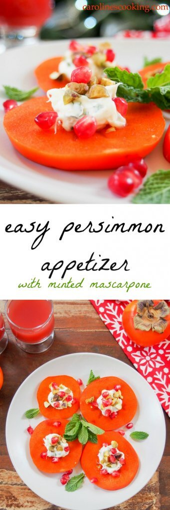 Easy persimmon appetizer with minted mascarpone. A tasty, colorful addition to any appetizer plate. Incredibly quick to make, a delicious mix of textures and flavors + video tutorial.