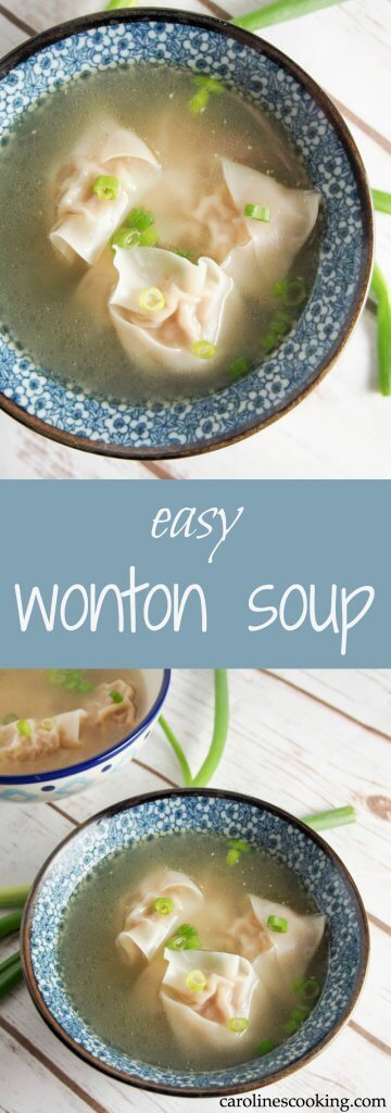 Wonton soup really is so much better when you make it yourself and this recipe is so easy. Plus make extra wonton to freeze for next time. Such comfort food! Great for lunch, helping you feel better when you have a cold or as an appetizer.