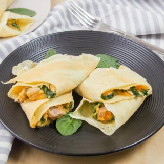 turkey spinach crepes with sweet potato sauce