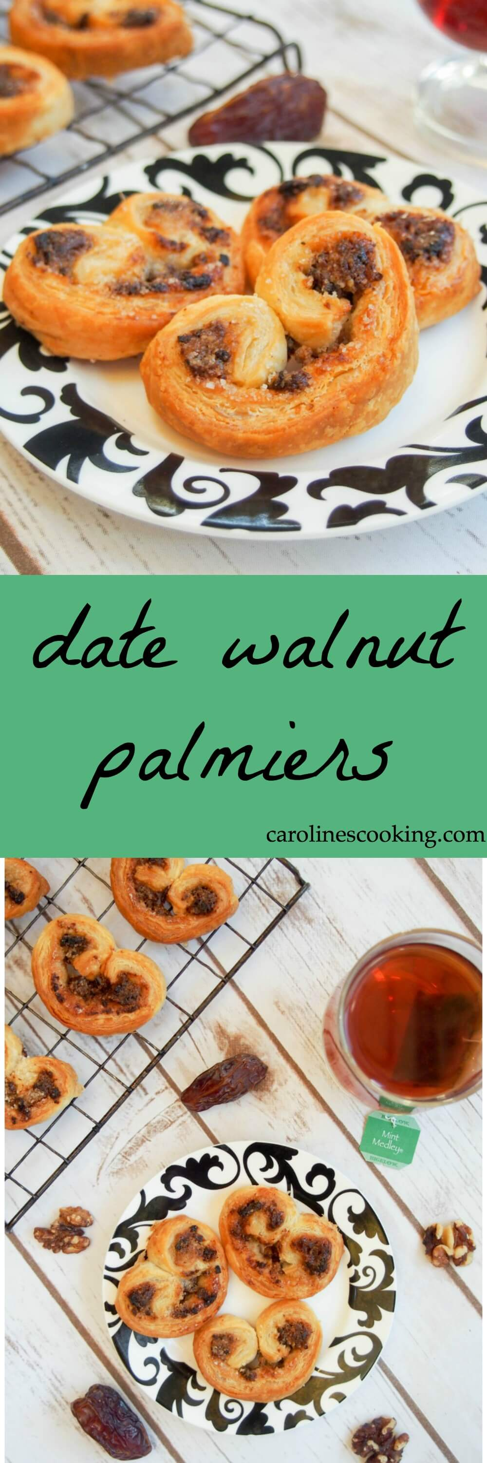 These date walnut palmiers have only 4 ingredients and take no time to make. Low on sugar but full of delicious flavor. A perfect tea-time snack. Plus video tutorial! AD #TeaProudly