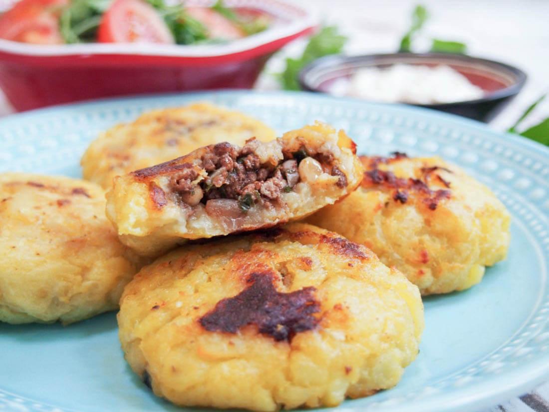 Persian lamb stuffed potato cakes