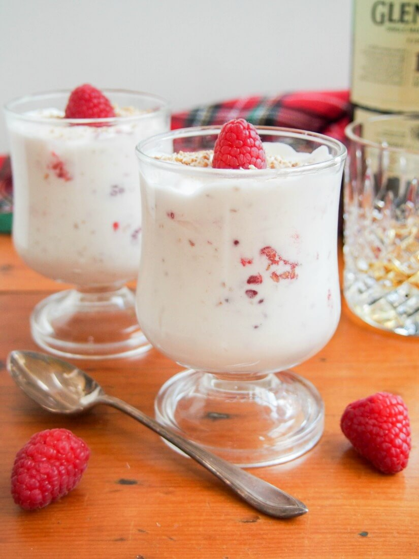 Cranachan is a delicious, easy 5 ingredient dessert (cream, oatmeal, whisky, honey & raspberries) that's perfect to end your Burns Night feast, or any time.