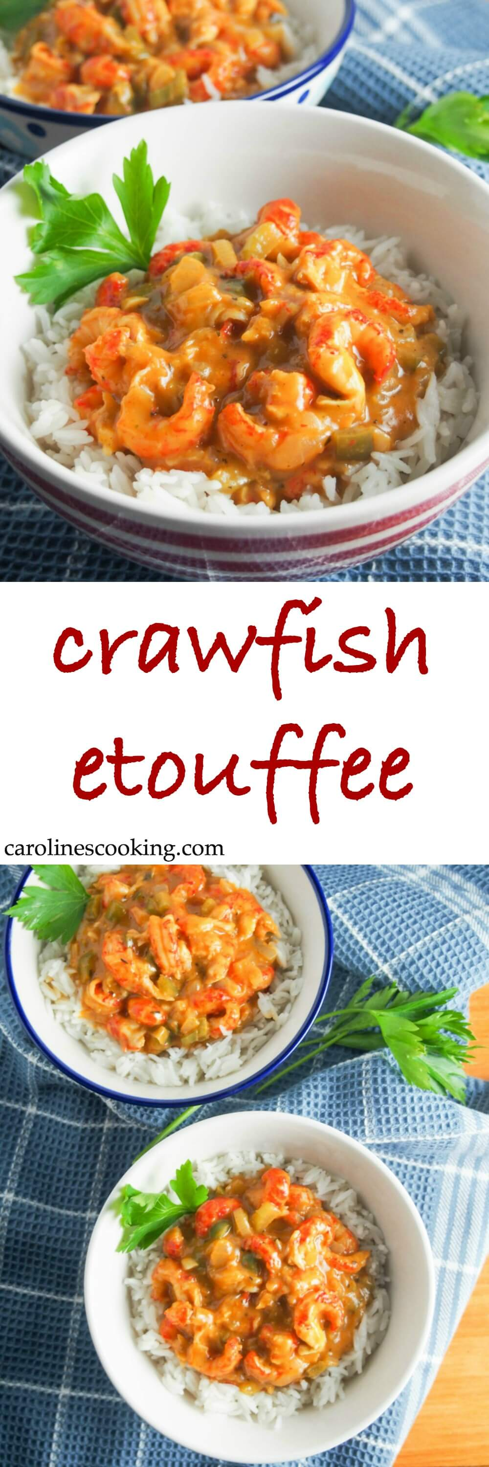 Crawfish etouffee is a classic Cajun stew - this version is lightened up & speeded up a little but still full of fantastic flavors. A comforting seafood stew, it's a delicious dinner whether as part of Mardi Gras celebrations or any time. #crawfish #cajunfood