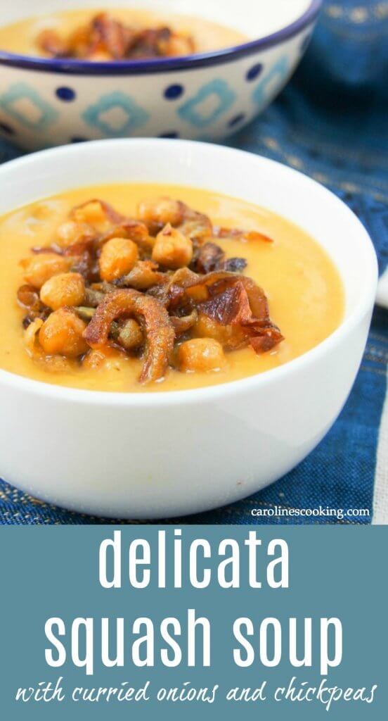 This delicata squash soup is super easy to make and tastes delicious, especially with the curried chickpea & onion topping. They make it seem that bit fancy when it's really so easy! Perfect for lunch on a cold day. Vegetarian, vegan and gluten free. #delicatasquash #squashsoup #vegan #vegetarian
