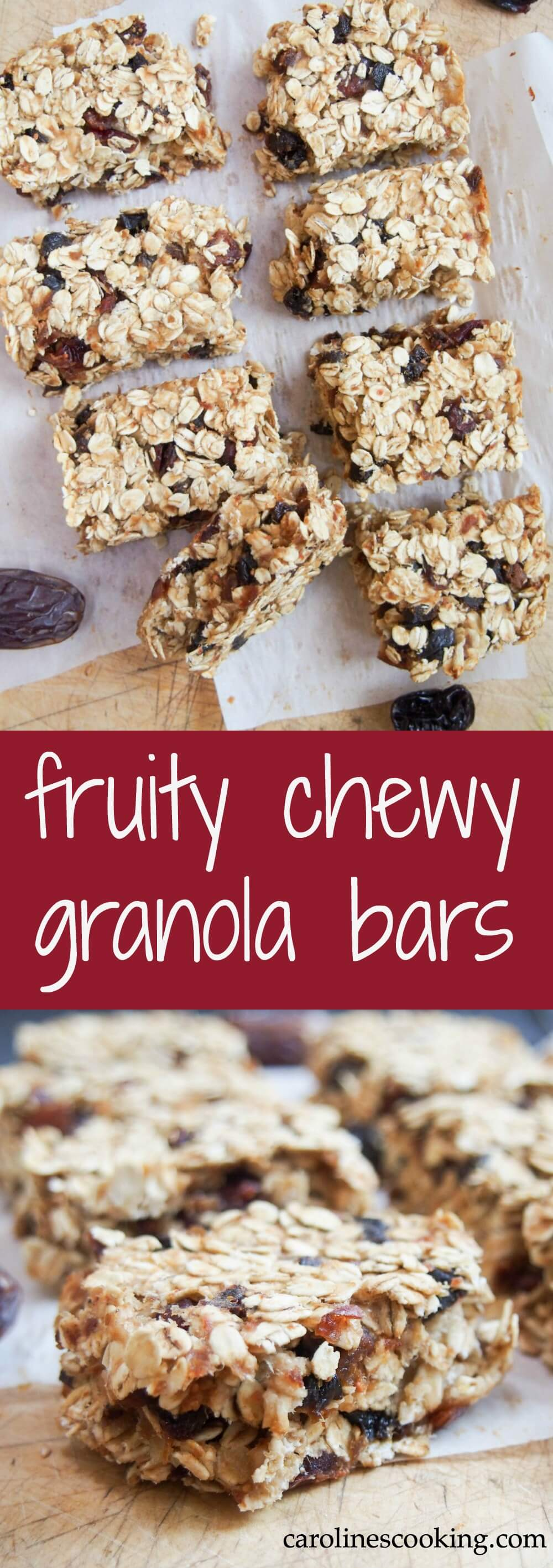 These fruity chewy granola bars are sweetened only with fruit, packed with fiber and easy to make. They make a great snack or grab and go breakfast.