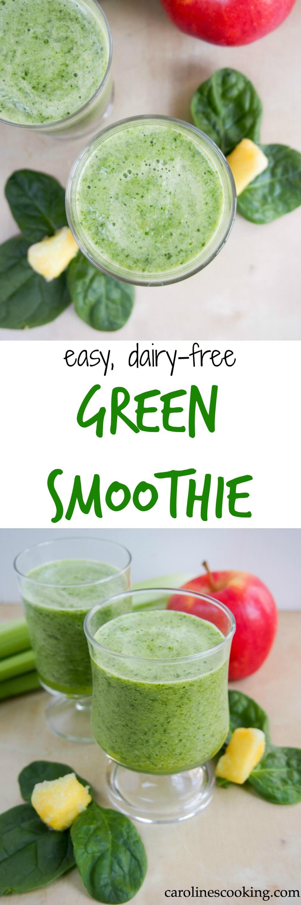 easy dairy-free green smoothie - This green smoothie is incredibly easy, tasty and completely dairy-free. It's sweet enough to enjoy easily, no added sugar but lots of green goodness.