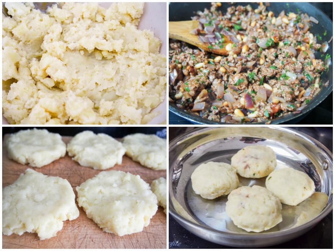 making Persian lamb stuffed potato cakes