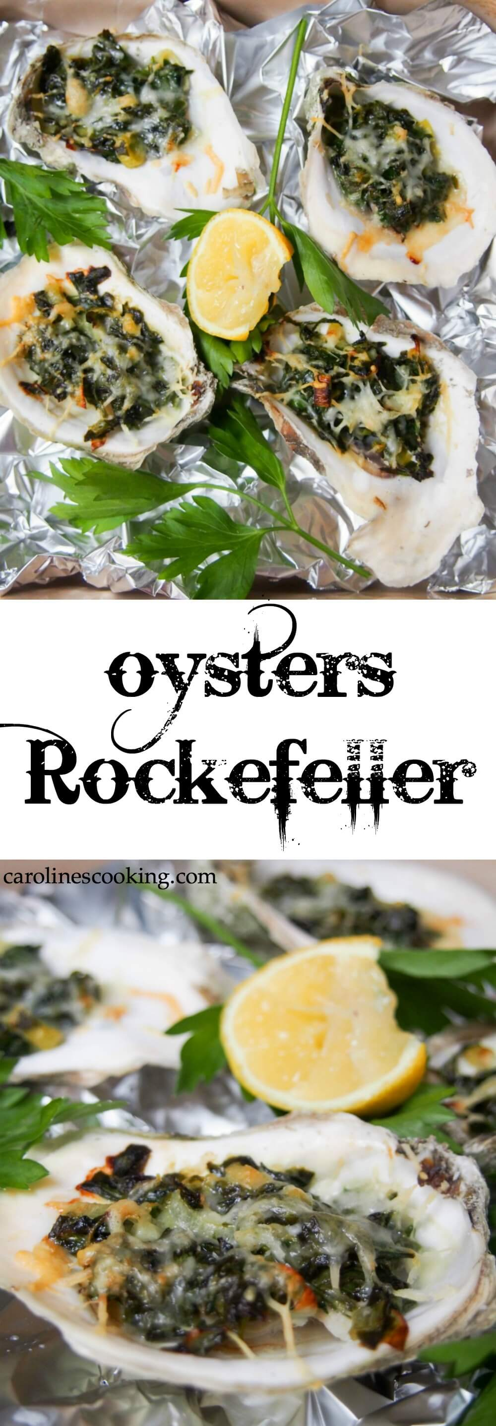 Oysters Rockefeller are a classic New Orleans appetizer with a tasty topping baked over oysters in their shell. Here they're lightened up but packed with flavor in the spinach-based topping. Perfect for date night, a fancy dinner party or any excuse. Includes video tutorial with how to shuck an oyster.