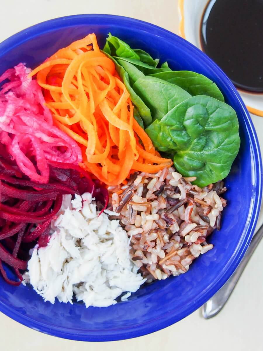 rainbow crab rice Buddha bowl