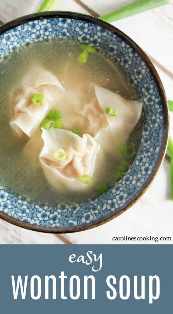 Wonton soup really is so much better when you make it yourself and this recipe is so easy. Plus make extra wonton to freeze for next time. Such comfort food! Great for lunch, helping you feel better when you have a cold or as an appetizer. #wonton #soup #chinesefood