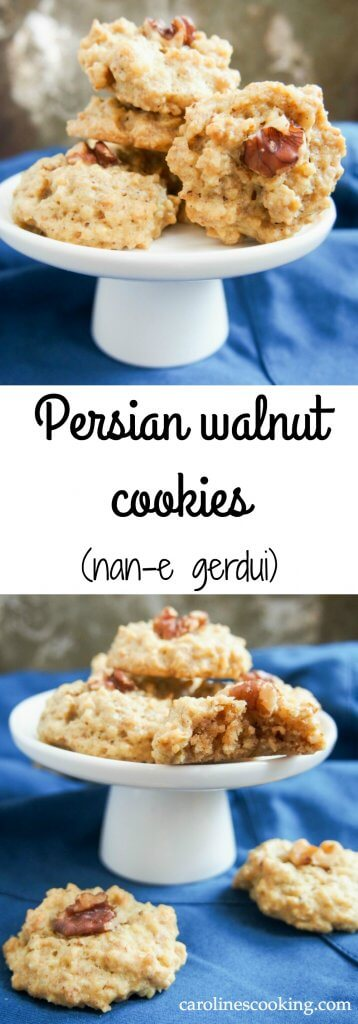 Persian walnut cookies - nan-e gerdui: These Persian walnut cookies have only 4 ingredients, are gluten free & easy to make. Traditionally for Nowruz, they're a tasty treat any time. #cookie #glutenfree #walnut #persianrecipe