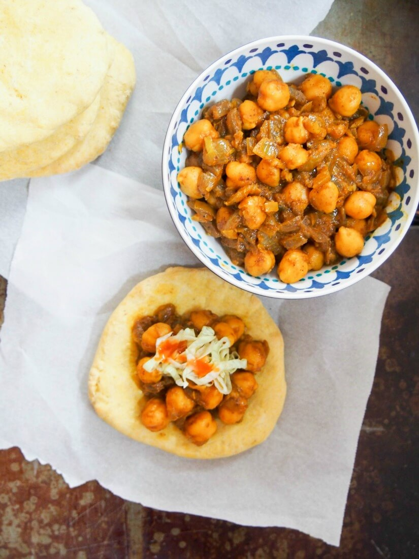 Trinidadian doubles - chickpea curry on spiced flatbread