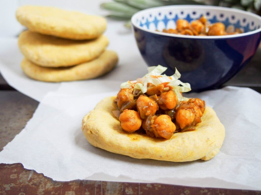 Trinidadian doubles (chickpea curry on spiced flatbread)