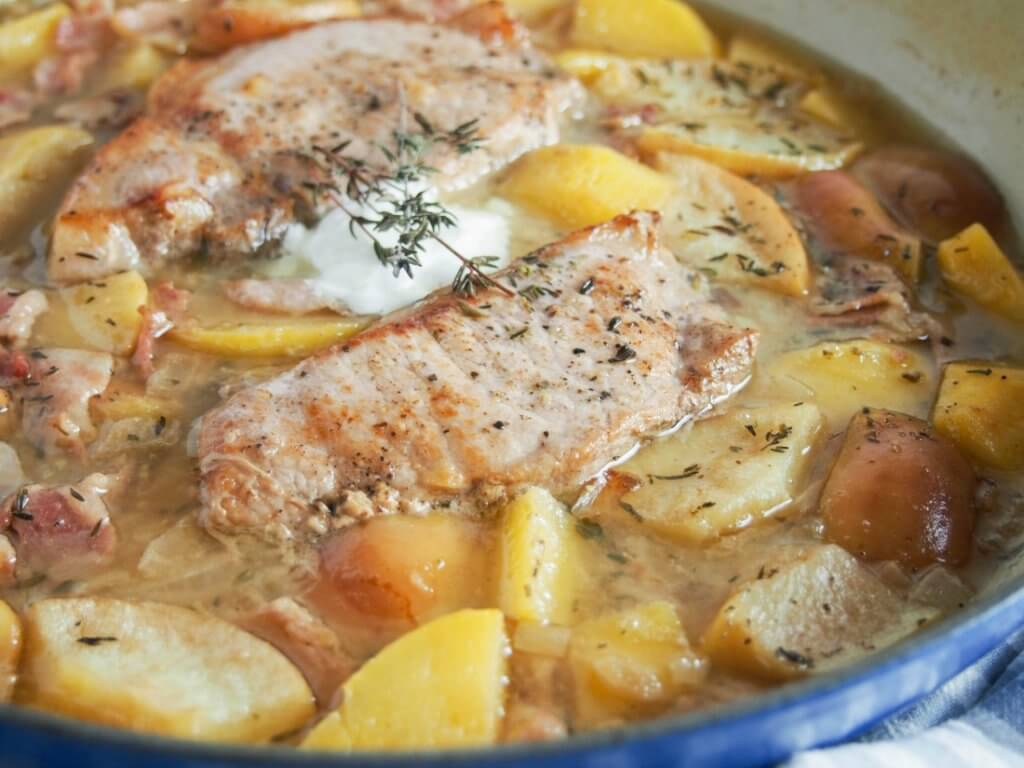 cider braised pork chops with apple and rutabaga