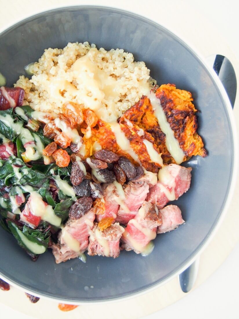 Transform leftover steak into a tasty leftover steak & quinoa bowl with sauted chard and lemon-tahini dressing. A quick, easy, healthy lunch or light meal.