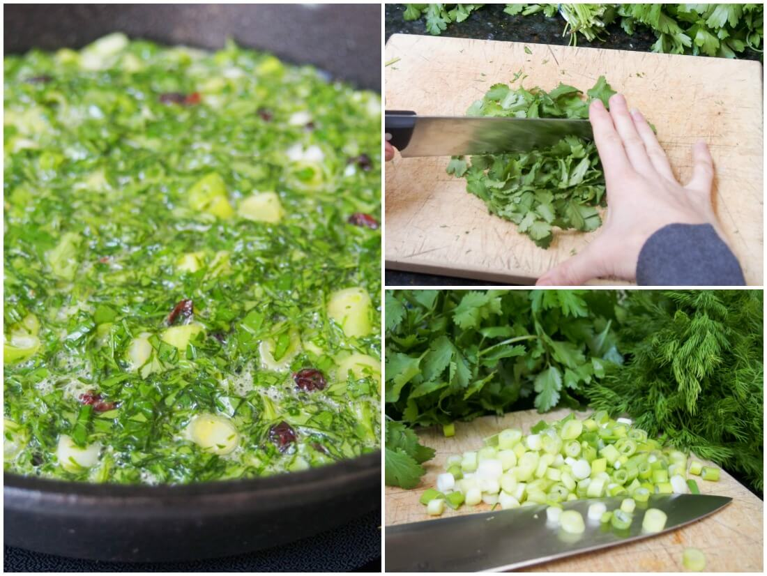 making Kuku sabzi - Persian herb frittata