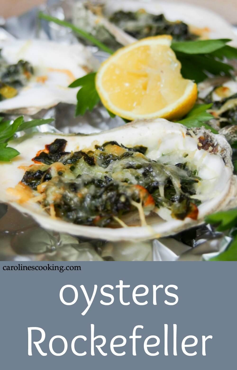 Oysters Rockefeller are a classic New Orleans appetizer with a tasty topping baked over oysters in their shell. Here they're lightened up but packed with flavor in the spinach-based topping. Perfect for date night, a fancy dinner party or any excuse. Includes video tutorial with how to shuck an oyster. #oysters #mardigras #bakedoyster