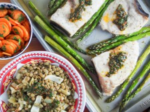 Baked swordfish and asparagus with lentils and chermoula