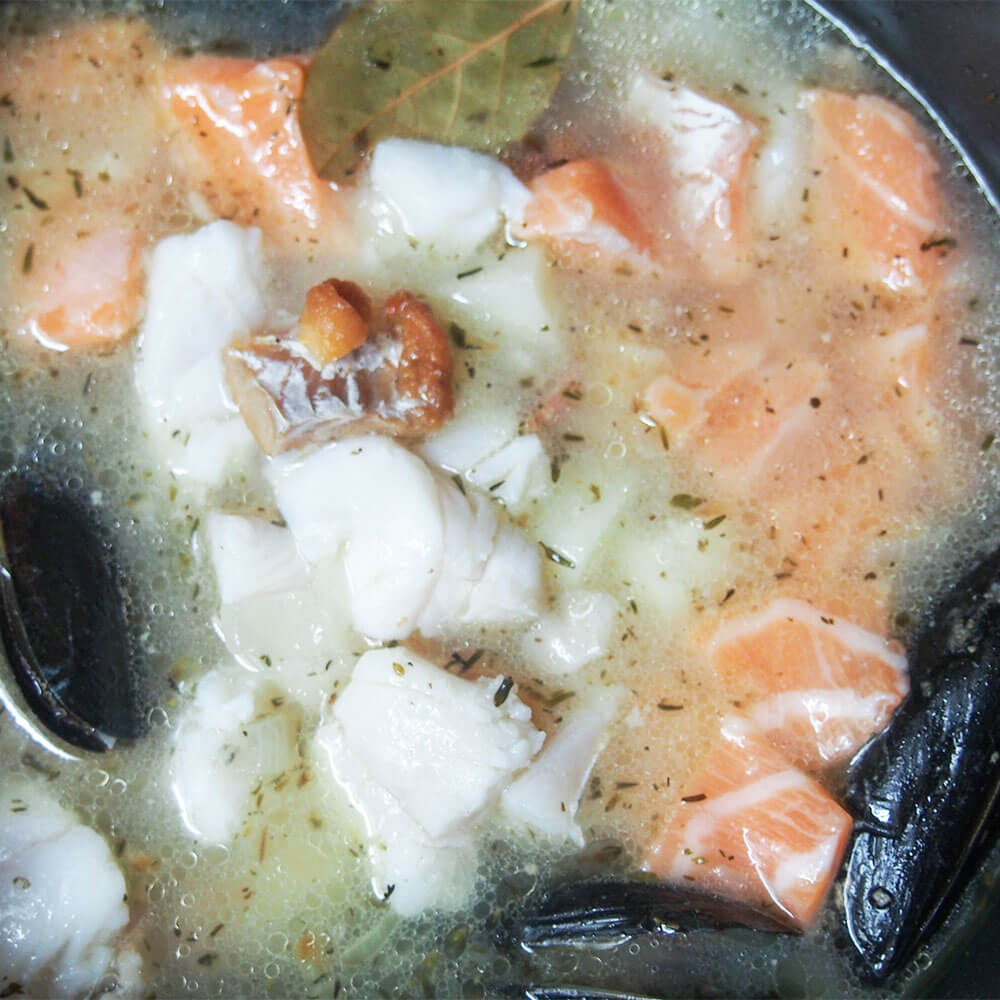 adding fish to Irish fish chowder