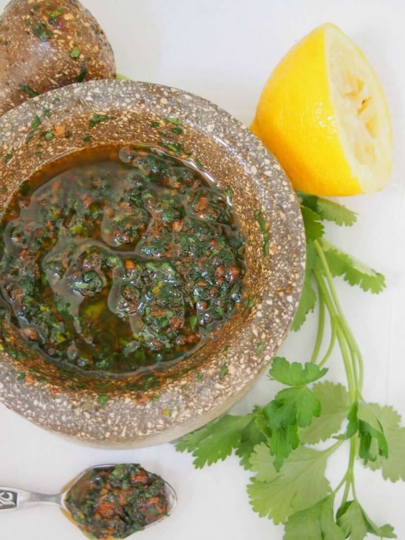 This chermoula sauce is easy to make and packs a delicious flavor punch - fresh herbs, cumin, garlic and olive oil, it's great with fish, veg & so much more