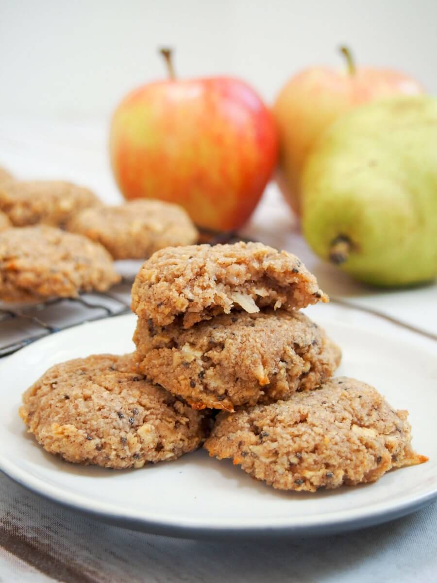 These healthy apple oatmeal cookies are easy to make & packed with good for you ingredients. Soft, flavorful, gluten free & vegan: so many reasons to enjoy! A great anytime snack, whether after school or even breakfast]