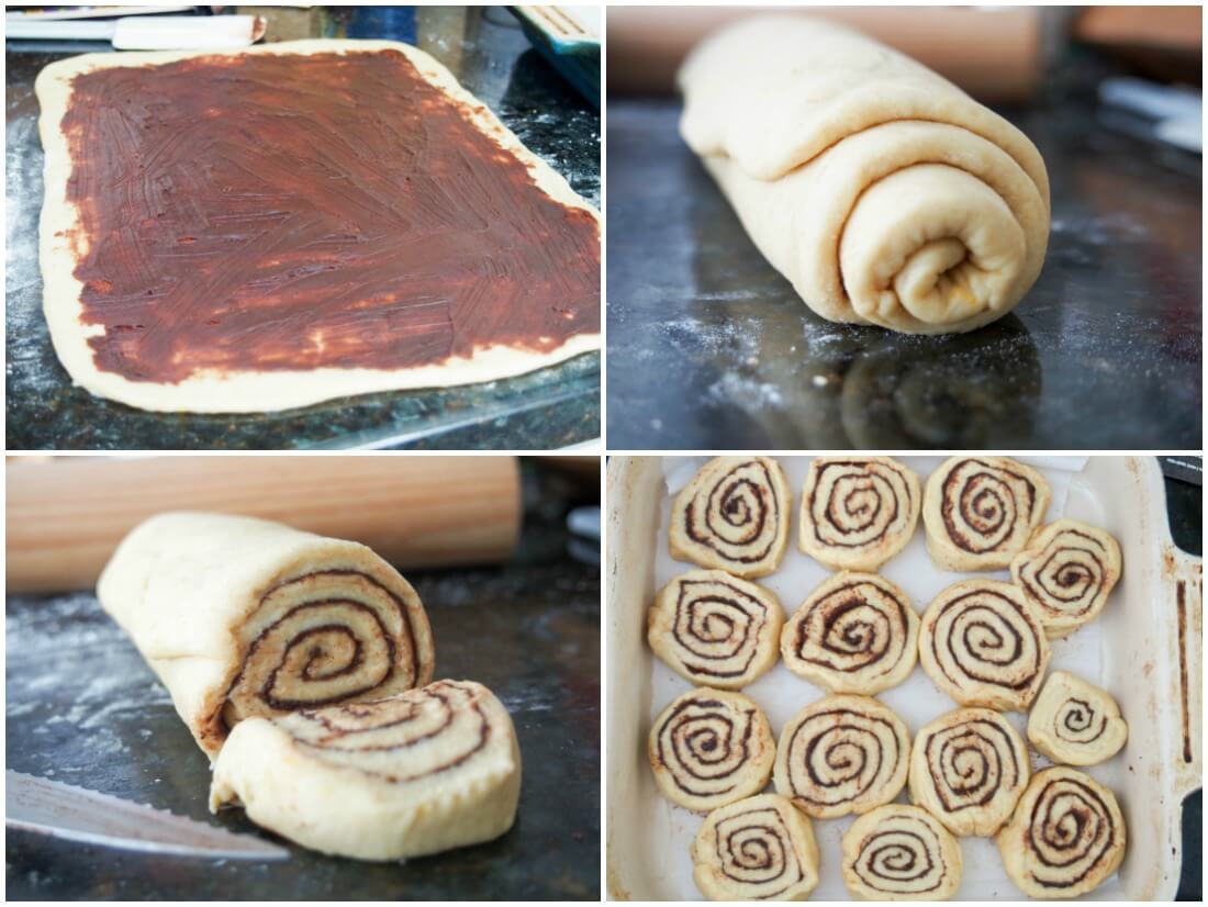 making chocolate orange cinnamon rolls