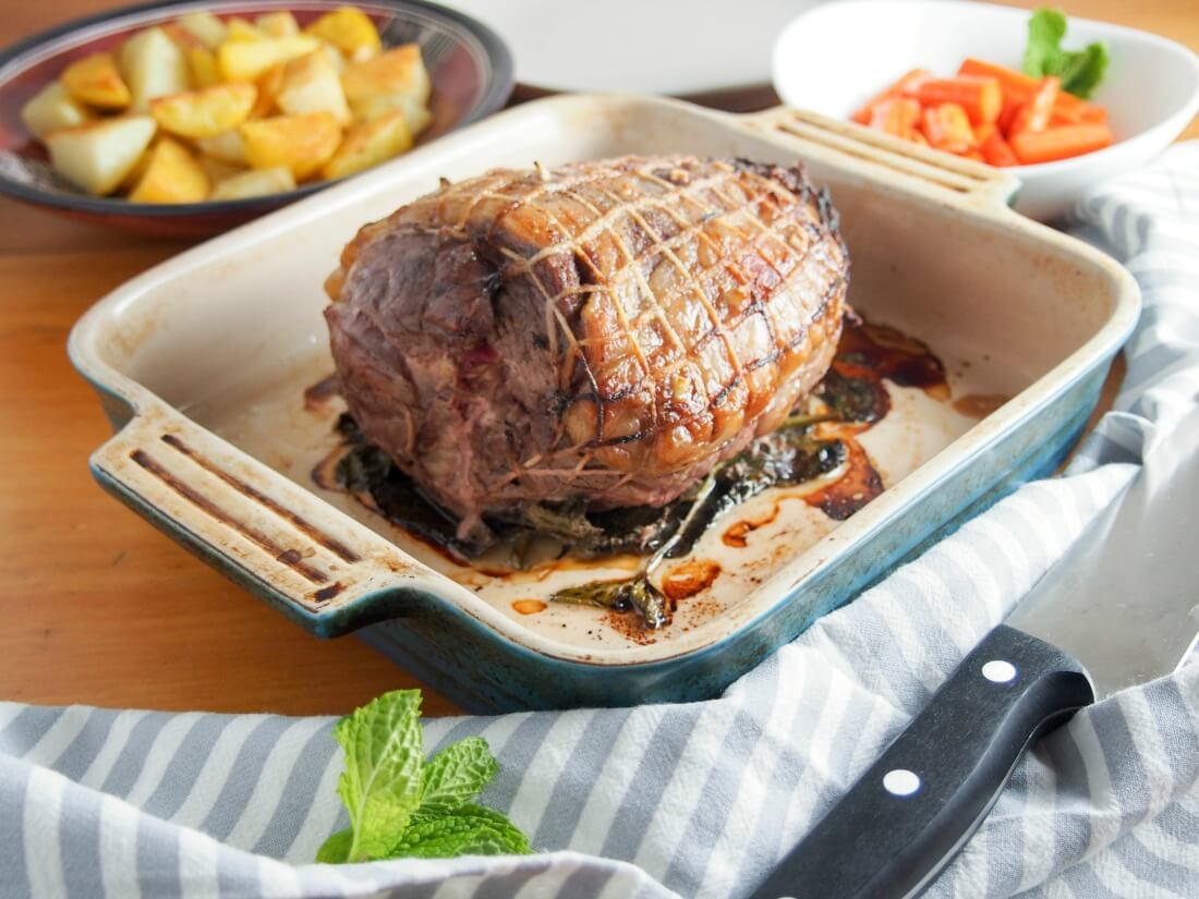 roast boneless leg of lamb on a bed of mint