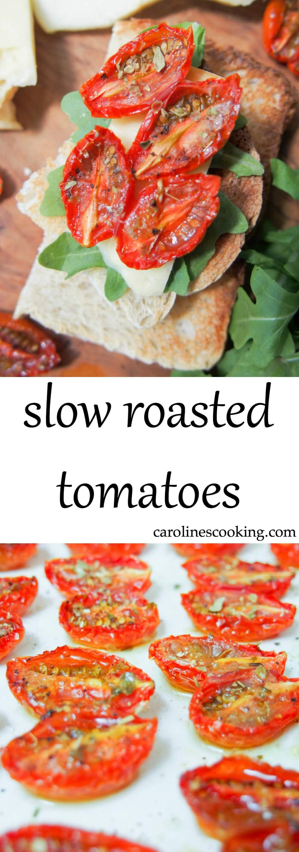 slow roasted tomatoes - Intensely tomato-y without being overpowering, gently dried but still juicy inside, these slow roasted tomatoes make such a delicious little bite. Great to snack on, with cheese and bread or in pasta.