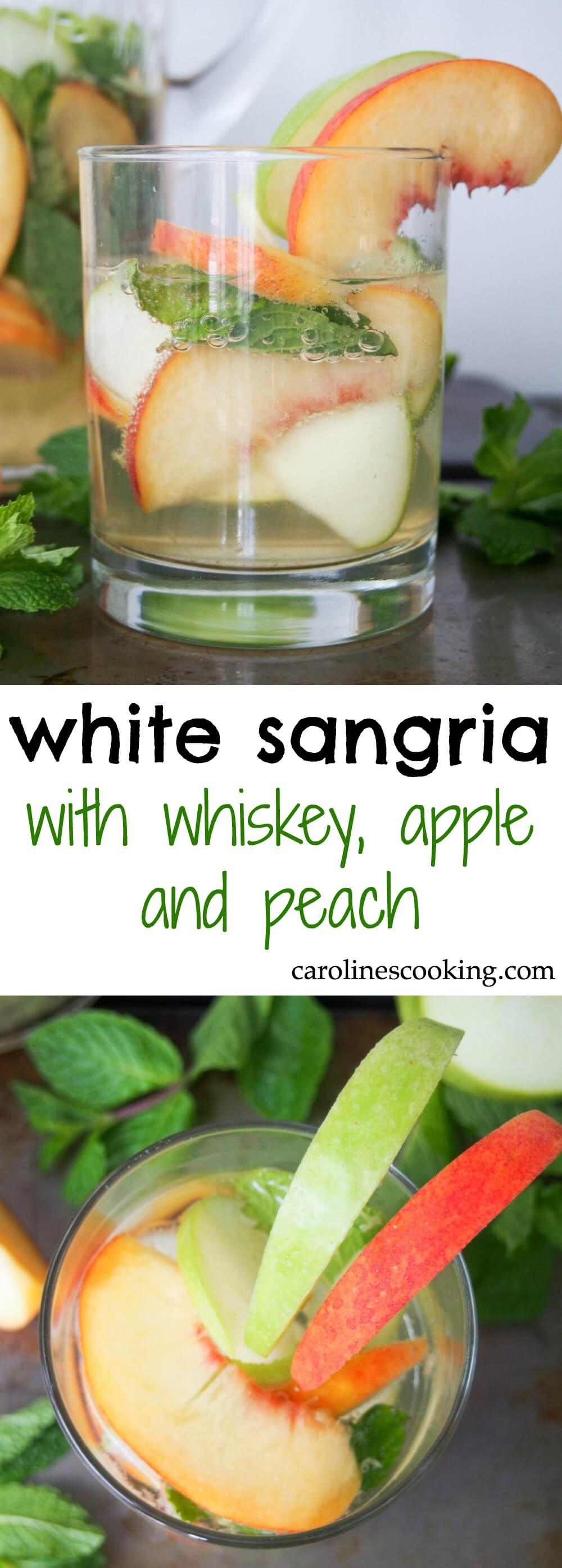 white sangria with whiskey, apple and peach - Gently sweet, fruity and with a lovely freshness from the mint, this white sangria is elegant and perfect for parties. IT'll become your go-to drink all summer! Also perfect colors for a less cliched St Patrick's Day cocktail.