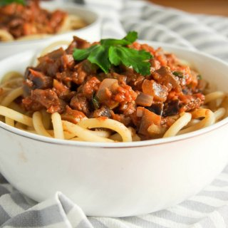 Leftover lamb pasta sauce with eggplant