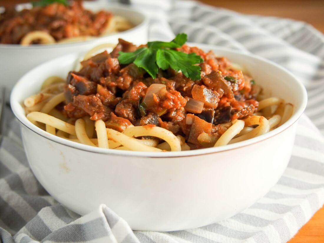 Leftover lamb pasta sauce with eggplant