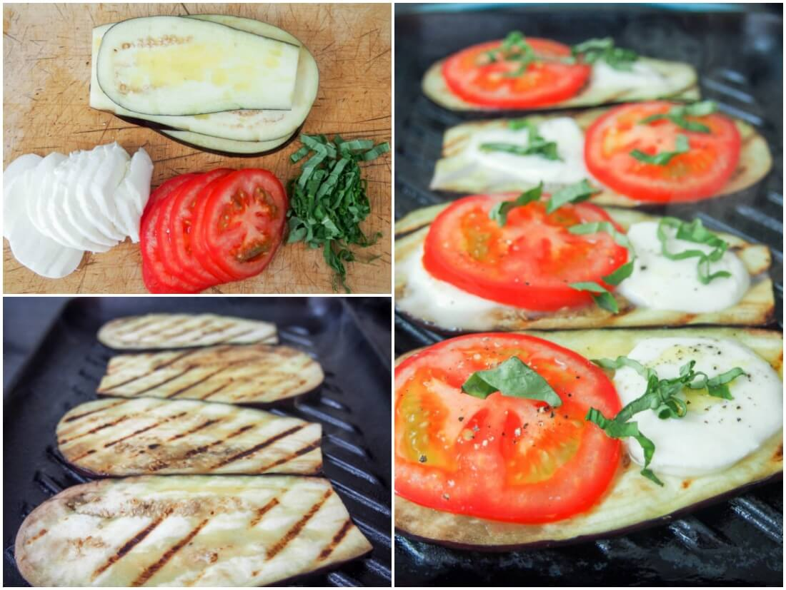 making caprese grilled eggplant roll ups
