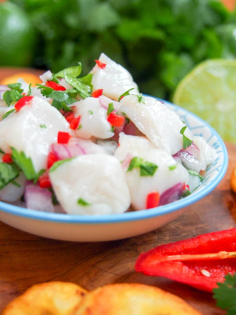 Scallop ceviche is really easy to make but feels like an indulgent restaurant-style appetizer. Citrusy and with a hint of heat, it's light & delicious.