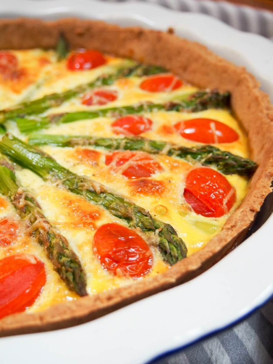 tomato asparagus quiche makes a great brunch or lunch, with lots of tasty spring flavors.