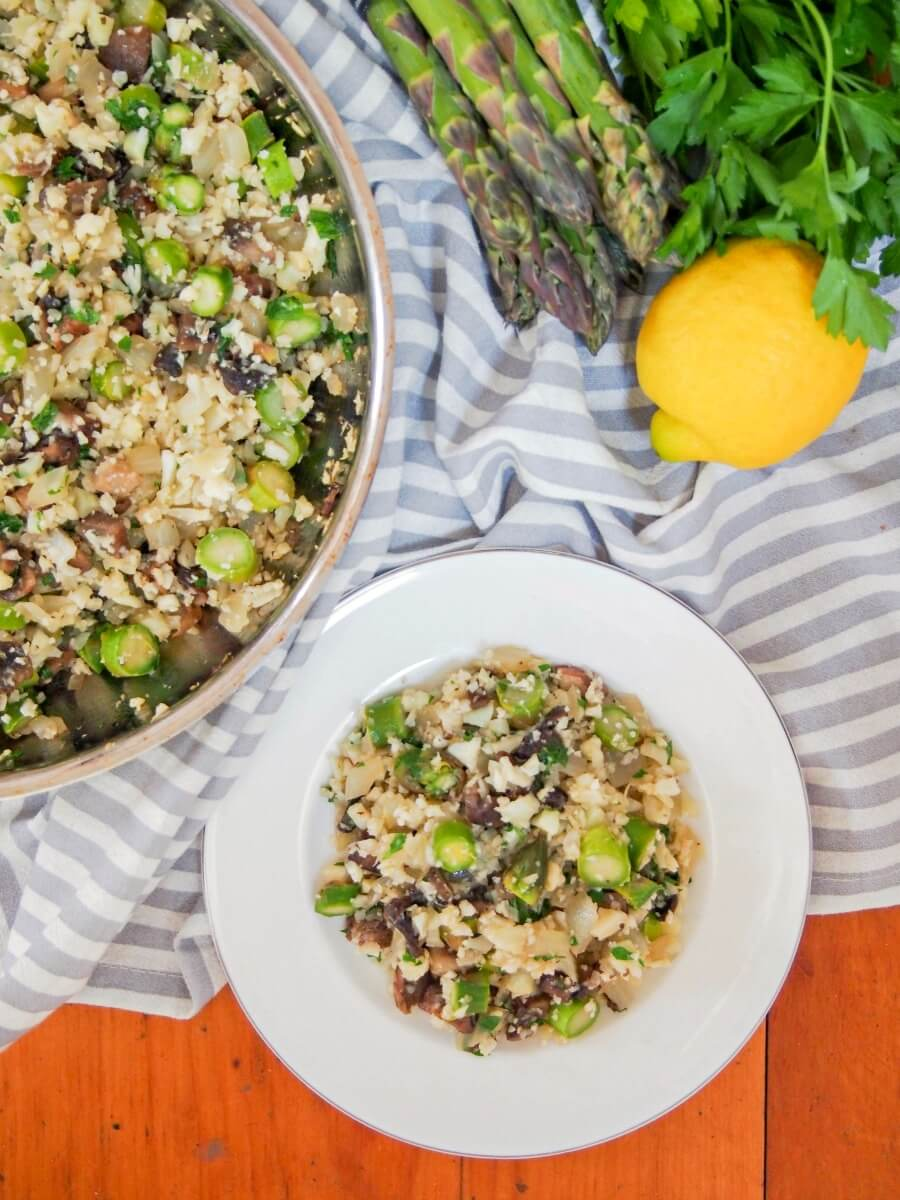 cauliflower rice with asparagus and mushrooms - a great quick, easy as well as vegan, low carb meal