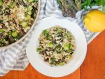 cauliflower rice with asparagus and mushrooms - vegan, low carb