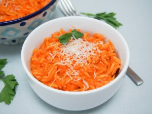Hidden vegetable pasta sauce for orange orzo