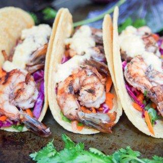 Jerk spiced shrimp tacos