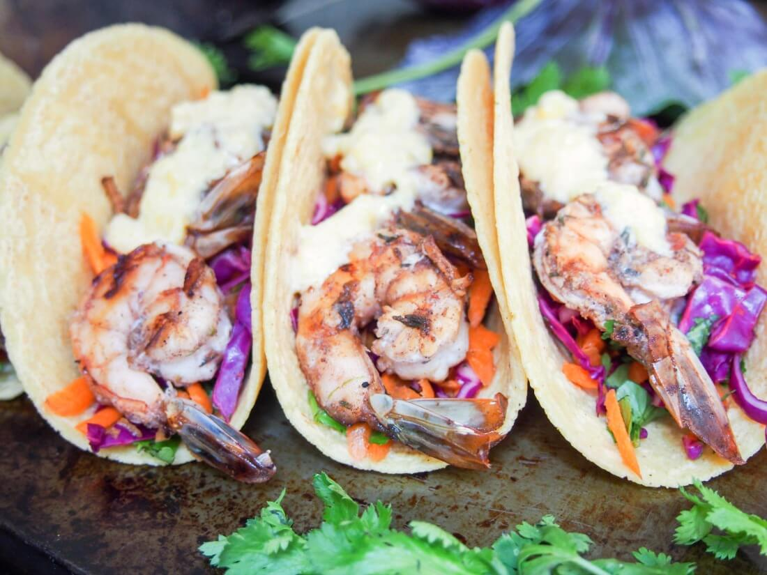 Jerk spiced shrimp tacos