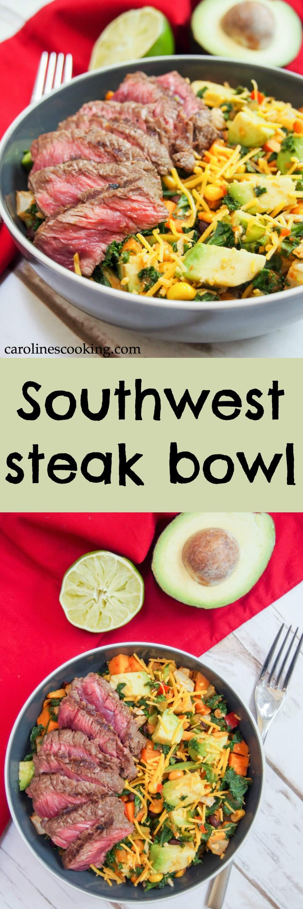 This Southwest steak bowl is a hearty bowl of deliciousness, but take mere minutes to make. Marinated steak over tasty veggies, it's the perfect easy dinner for a busy night. Any leftovers are great too! #AD #Nourish2Flourish