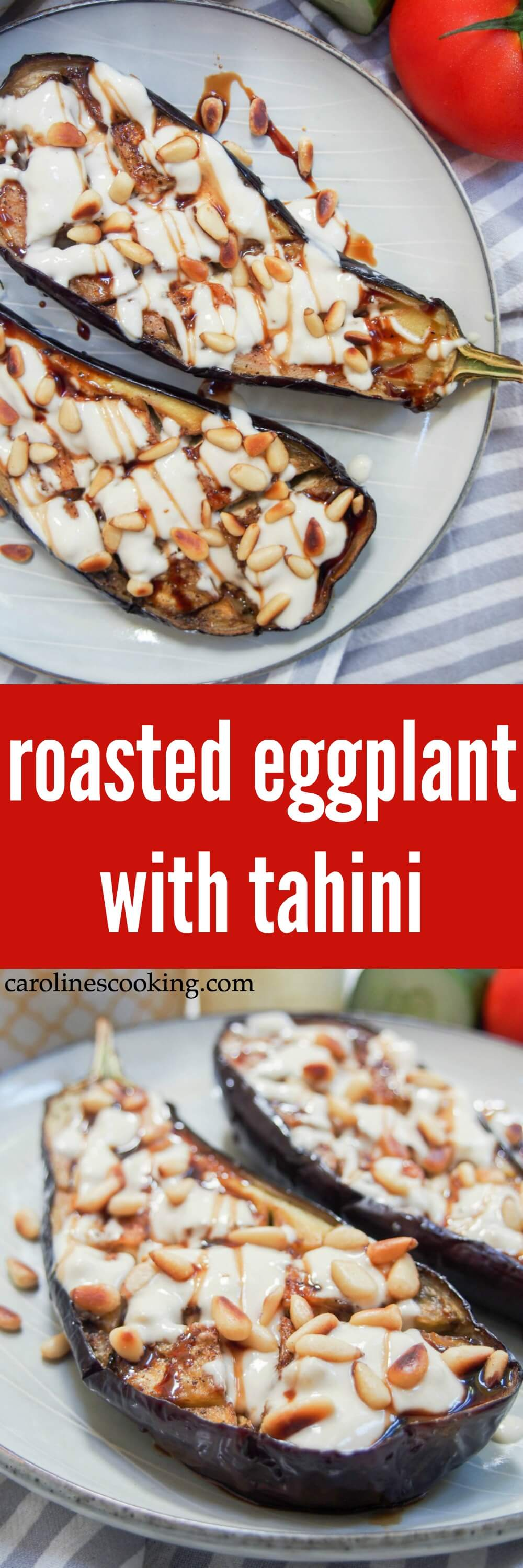 Roasted eggplant with tahini is a delicious appetizer or mezze dish that you'll find in Israel and other parts of the region. It's incredibly easy to make and full of fantastic flavor. Vegan & low carb