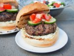 lamb burgers with feta sauce