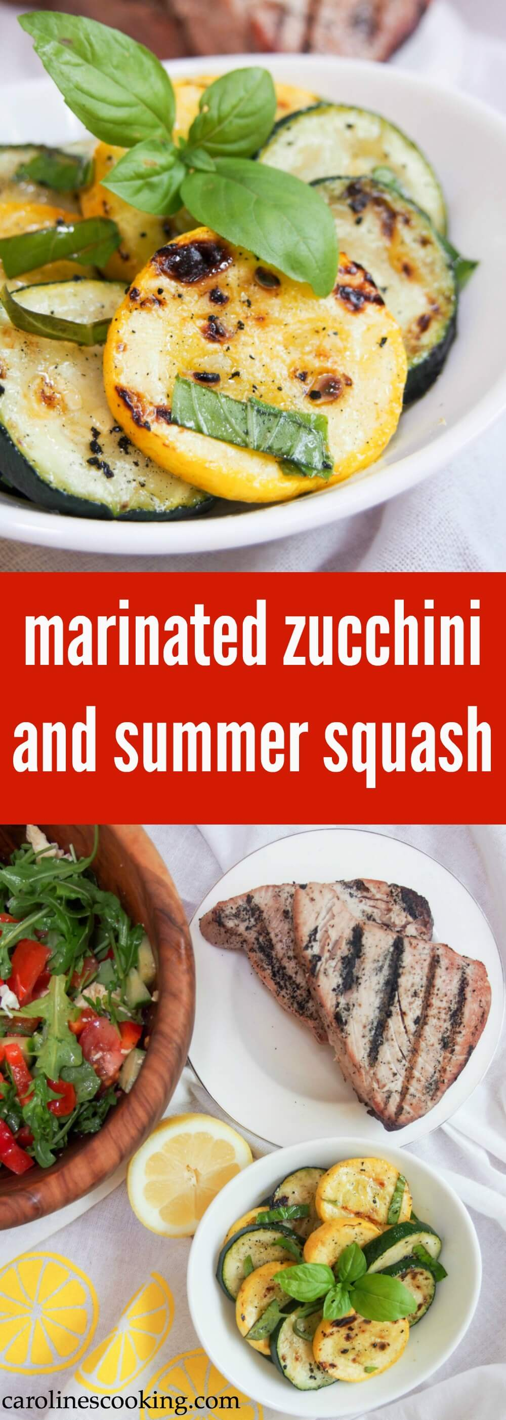 Whether you eat them straight away, or pack them for a picnic, these lemon and basil marinated zucchini and summer squash make a delicious, easy side dish. Full of fresh, summery flavors.